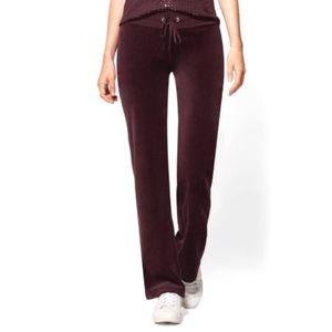 NWT NY&C Velour Straigth Leg Pant Lounge Fig XLT